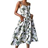 MRULIC Damen Frauen Druckknöpfe aus Schulter ärmelloses Kleid Prinzessin Maxi Geripptes Kleid(Weiß,EU-38/CN-S)