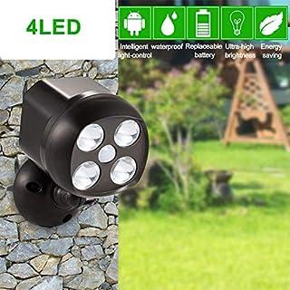 360 Grad drehbarer Bewegungsmelder Strahler, IP65 wasserdicht, 4 LED Außenbeleuchtung, batteriebetriebene Lampe, Sicherheitsleuchten für Wand, Garten, Gehwege und Auffahrt, schwarz