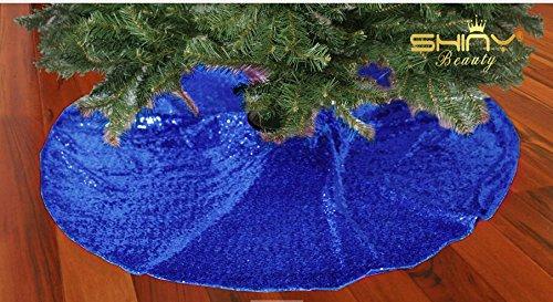 shinybeauty 48inch-tree Rock fur-royal Blue Christmas Baum Rock Pailletten Baum Rock Weihnachtsbaum Rock Prime für Hochzeit/New Year/Weihnachten/Party Ornament Wicker Krippe