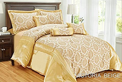 New Victoria Luxus weichem Jacquard 7-teilig Tagesdecke Tröster Quilt Polyester gefüllt Polyester gefüllt Neckroll Kissen Frühstück quadratisch Kissen Farbe beige Größe King