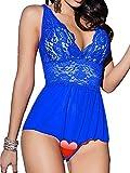 Fantastic Damen Nachtkleid Sexy Erotik Babydoll Teddy Dessous Set Lingerie, Erotische Spitze Unterwäsche mit offenem Schritt in Schwarz/Weinrot/Blau (L, Blau)