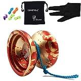 Auténtico YOYO mágico N12 tiburón honor Yoyos con el bolso + 5 Cuerdas + Guante de juguete de regalo, de aluminio (rojo con oro)