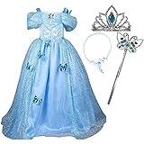 Little-Peach Disfraz de Vestido Princesa Azul Cielo con Collar Diadema Varita Mágica Broches Mariposas Cunstume para Cumpleaños Cosplay Carnaval Halloween Talla 120 (3-4 Años)