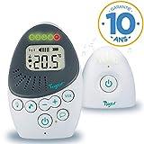 Tigex Babyphone Easy Protect Plus, Écoute-bébé Rechargeable avec mode Eco, Talkie-Walkie, Berceuse et Veilleuse