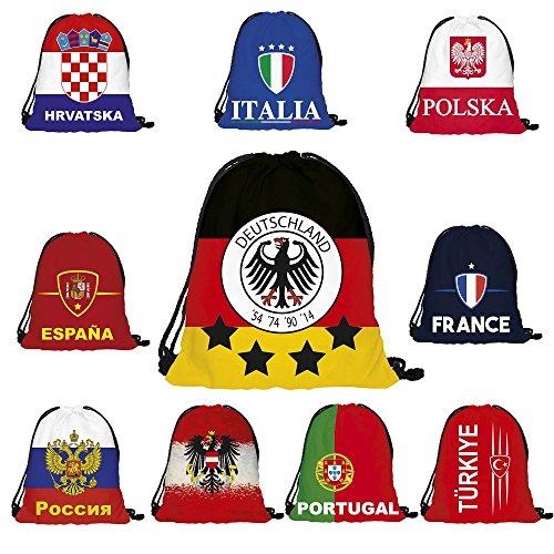 Fanartikel Rucksack Turnbeutel EM & WM 10 Länder Gymsack (Ländern Verschiedene Kostüme)