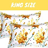 BSB HOME Cotton 140 TC Pillow Cover, King, Yellow