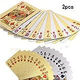REYOK REYOK 2 Set Vergoldete Spielkarten Goldfolie Pokerkarten Kartenspiel, 54 Spielkarten mit Euro Design 24 Karat Gold - Poker Karten wasserdichte