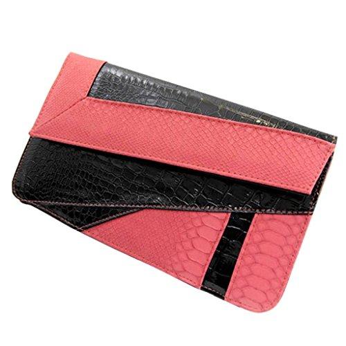 Gaorui Damen Frauen Abendtasche Clutch bag mit Serpentine Leder Handtasche Rot