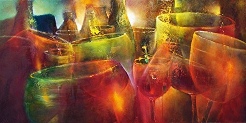 Spirituosen-kunst-plakat (Artland Wandbilder selbstklebend aus Vliesstoff oder Vinyl-Folie Annette Schmucker Zu später Stunde Ernährung & Genuss Getränke Spirituosen Malerei Bunt)