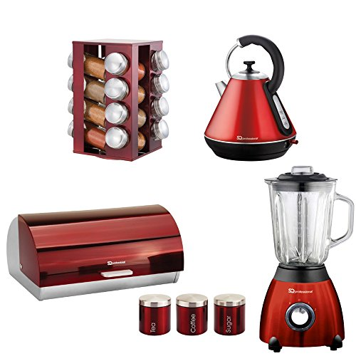 Matching Kitchen Set Of Four Items: Kettle, Blender, Spice Rack And Bread Bin And Canisters In Purple, Black Or Red (Red)