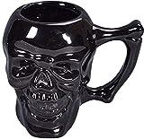 Adiasen 1pièce Noir faite à la main Terreur Unique Saint-denis Chine Céramique Tête de mort squelette de tasses Tasses à café Café Lait Tasse cadeau de Halloween tête de mort Goblet