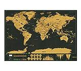 Collwood® Weltkarte zum Rubbeln im Großformat 82x60cm - schönes Geschenk für Weltenbummler und Studenten - schwarz gold