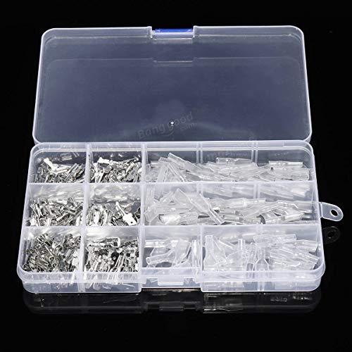ARCELI 270Pcs Male Female Spade Wire Connecteurs Rapides à sertir Cosses de raccordement 2.8mm 4.8mm 6.3mm - Accessoires électriques
