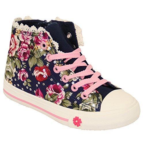 Sneakers Meninas Crianças Florais Crianças Padrão Kelsi Até As Rendas Bombas Planas Zipper Sapatos Azul Marinho - Tr18