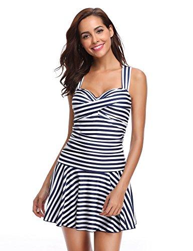 SIZE Badekleid mit Rockchen Effekt Schwimmanzug Badeanzug S blau weiss gestrichen (Hello Kitty Plus Größe)