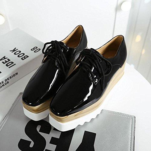 LvYuan Scarpe da donna / scarpe da ginnastica / cuoio brevettato / ufficio & carriera / tacco chunky / comfort / cappello quadrato / merletto Oxford / outdoor scarpe casual flatform Black