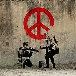 Banksy - símbolo de la Paz - lámina de reproducción de teclado 34 cm x 34 cm (33,02 cm x 33,02 cm) listo para colgar