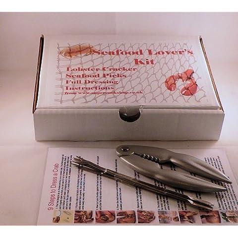 Bonzza - Scatola con set per crostacei contenente 1 pinza rompichele per aragoste e granchi (4 Acciaio Inossidabile Spiedini)