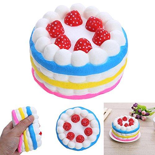Asiproper Jumbo Rainbow Strawberry Birthday Cream cake Slow rising profumata
