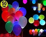 LED leuchten Ballons - Mischfarben - Premium Party Lights mit einer Schnur - Vervollkommnen Sie für Partei Geburtstags Jahrestags Hauptdekorationen-Aufblasen mit Luft und/oder Helium-Packung mit 50