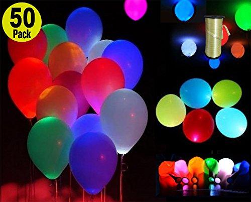 - Mischfarben - Premium Party Lights mit einer Schnur - Vervollkommnen Sie für Partei Geburtstags Jahrestags Hauptdekorationen-Aufblasen mit Luft und/oder Helium-Packung mit 50 (Led Baby Halloween Kostüm)