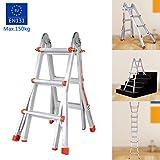Qulista Multifunktions-Teleskopleiter faltbar und leicht aus Aluminium 3 Schritt bis 330 cm Treppenleiter, belastbar bis 150 Kg Mehrzweckleiter Ladder 108 x 55 cm
