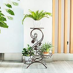 JPP Eisen ländlichen mehrere Ebenen Indoor Balkon Bodenständer Blumentopf Rack Blume Regal (Farbe : Bronze)