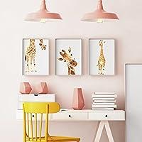 Premium Giraffe Wandposter für Kinderzimmer, Babyzimmer Poster, Wandbild, Wanddruck Kinder (DIN A4 3er-Set)