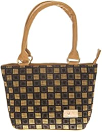Aliado Faux Leather Solid Beige & Black Zipper Closure Handbag For Women For Women
