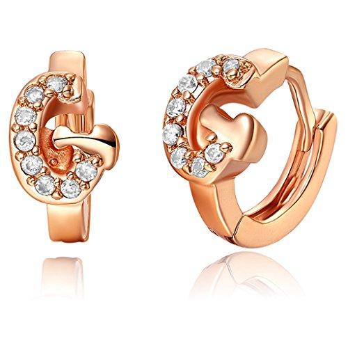 YLR vergoldet Frauen Schmuck Alphabet Buchstabe G zirkular baumeln Ohrring glänzend Zirkon Drop Ohrringe (Ear Cuff Animal)