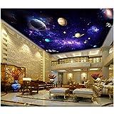 MSyikU Seidenwandbild 3D Tapete Benutzerdefinierte Foto Lila Träumerische Milchstraße Starry Raum Wohnzimmer Decke Wandbilder 3D Wandbild Tapete Wände 3D,500cm*320cm