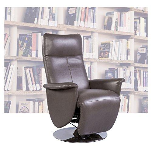 Fernsehsessel drehbar mit Standfuß grau / braun und elektrischer Relax- Liegefunktion