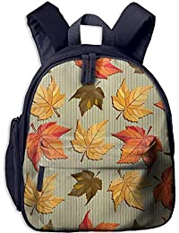 Preisvergleich für Lovely Schoolbag Maple Leaves Double Zipper Waterproof Children Schoolbag Backpacks with Front Pockets for Kids...