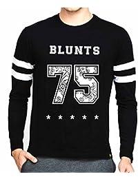 Veirdo Printed Full Sleeve Black White Round Neck Men's Cotton Tshirt