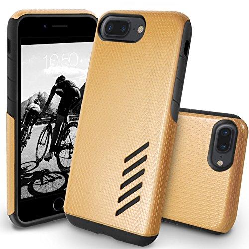 Funda iPhone 8 Plus, Orzly® Grip-Pro Case para iPhone 7 PLUS/iPhone 7 PLUS (5,5 Pulgadas Modelo Teléfono Móvil) - Funda durable y ligero Capa Doble de mayor agarre y defensa - ORO CHAMPAGNE