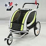 Style home 2 in 1 Fahrradanhänger Kinderanhänger 360° drehbar Vorrad Jogger Buggy Kinderwagen für 1-2 Kinder Radanhänger Transportanhänger mit Kupplung & Beleuchtung (Grün-Weiße)