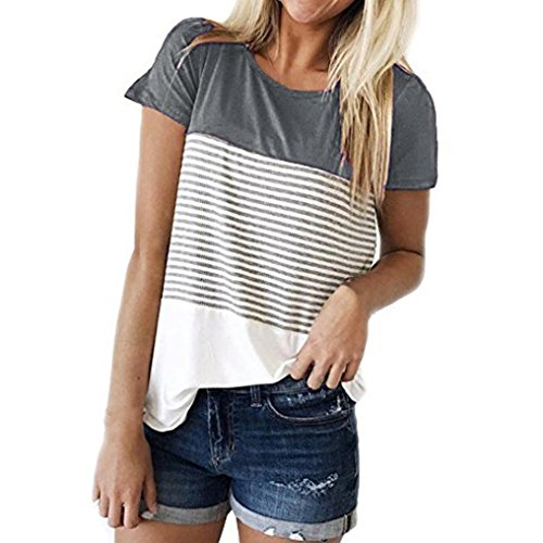 Hevoiok Damen Kurzarm-Shirt Oberteile Sexy Dreifacher Farbblock Streifen Bluse Neu Frühling Sommer T Shirt Frauen Casual Locker Beiläufig Tanktops (Grau, M)