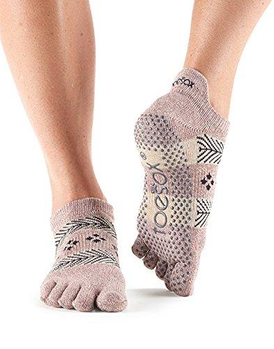 ToeSox Calcetines tobilleros de mujer con dedos cerrados, antideslizantes, para ballet, yoga, pilates, barre, Sugar Plum