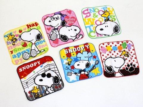 & # X3010; Snoopy & # X3011; Colorful Mini Handtuch & # Dusche; Taschentuch (Snoopy & Woodstock) 6Handtücher Set