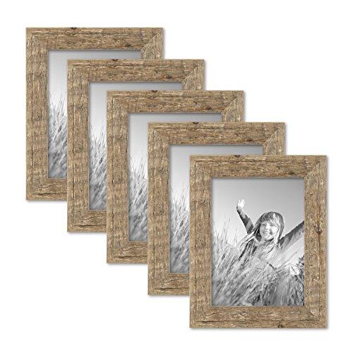 PHOTOLINI 5er Bilderrahmen-Set 15x20 cm Strandhaus Rustikal Eiche-Optik Natur Massivholz mit Glasscheibe inkl. Zubehör/Fotorahmen
