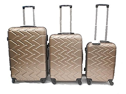 Orlac Tyre Set 3 Trolley valigie rigide in ABS e policarbonato 4 ruote piroettanti colori vari (Champagne)