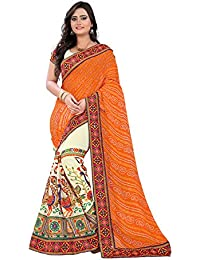 Riva Enterprise Women's Georgette Saree With Blouse Piece (Riva-8_Orange)