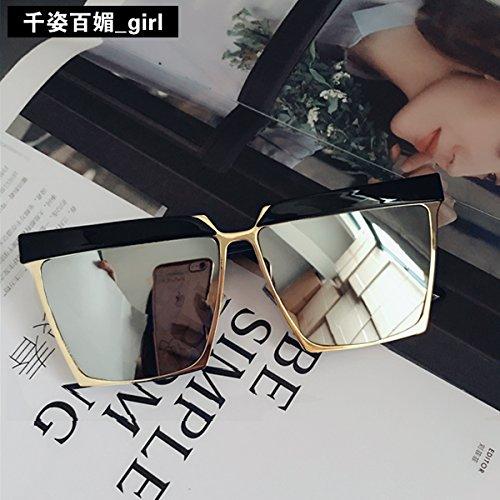 mit, Sonnenbrille Frauen neue koreanische Persönlichkeit square rundes Gesicht Hochglanz Gläser der Sonnenbrille mode Männer, Gold, Quecksilber reflektierende (Gold Quecksilber)