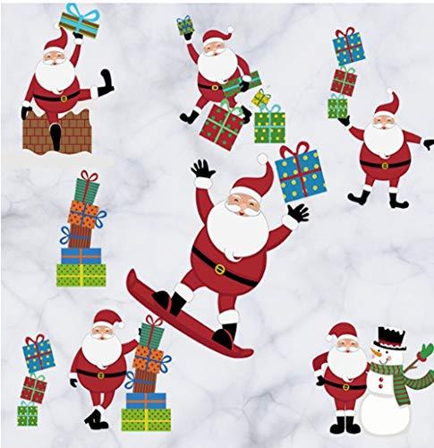 (ZBYLL Fensteraufkleber Santa Wall Sticker Geschenk Schneemann Dress Up Coffee Shop Fenster Home)