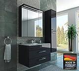 MISPA© Badezimmer Badmöbel-Komplett-Set inklusive Hochschrank, Anthrazit/Hochglanz - 90cm, LED-Beleuchtung, Softclose-Technologie, Waschbecken, Unterschrank, Spiegelschrank, Made in Germany