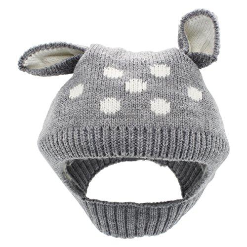 YOPINDO Baby Boy Girl Winter Hat Warm Soft Knitting Wool Earflap Crochet Animal Beanie Cap (Grey)