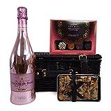 Pinot Noir Rose Brut 24KT Cesto regalo edizione lusso - Il regalo ideale per il compleanno della fidanzata, festa della mamma, come ringraziamento, fidanzamento