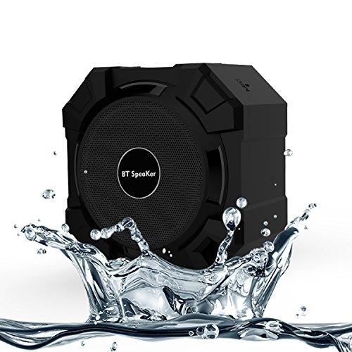 Jollyplanet Armor Speaker Bluetooth Nero, portatile, 5W di potenza in uscita, bassi alta qualità, Resistente all'acqua / Resistente alla polvere / Resistente agli urti, compatibile con tutti i telefoni, tablet, pc, ottimo per doccia e attività all'aria aperta, vivavoce, microfono incorporato