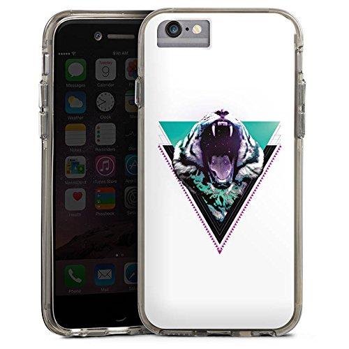 Apple iPhone X Bumper Hülle Bumper Case Glitzer Hülle Schneetiger Dreieck Triangle Bumper Case transparent grau