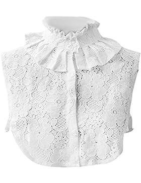 Mujeres blanco cordón hueco hacia fuera falsa camisa mitad camisa desmontable blusa cuello con banda elástica...